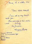 Fraugoise Bernoy to Master Meredith (2 October 1962) by Fraugoise Bernoy