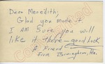 """A Friend from Birmingham, Ala. to """"Dear Meredith"""" (30 September 1962) by Author Unknown"""