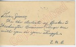 "E. M. B. to ""Dear James"" (27 September 1962) by Author Unknown"