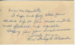 Mrs. Pansy L. Alexander to Mr. Meredith (27 September 1962) by Mrs. Pansy L. Alexander