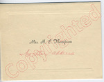 """Dr. and Mrs. H. E. Thompson to """"Dear Mr. Meredith"""" (Undated) by Dr. and Mrs. H. E. Thompson"""