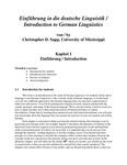 Einführung in die deutsche Linguistik / Introduction to German Linguistics by Christopher D. Sapp
