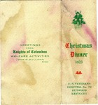 Christmas dinner menu, veterans hospital, Outwood, Ky. by Knights of Columbus