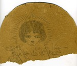 Fan with pencil sketch of Martha Alice Stewart (broken in two)