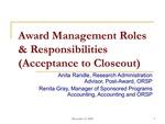 Award Management Roles & Responsibilities
