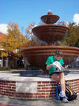 Student by Fountain [University of Mississippi] by Alan Pike