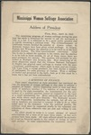 Mississippi Woman Suffrage Association: Address of President by Mississippi Woman Suffrage Association and Nellie Nugent Somerville